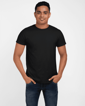 Black Round Neck Half Plain Cotton T Shirt