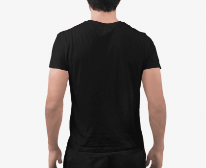 black color plain half t shirt back view