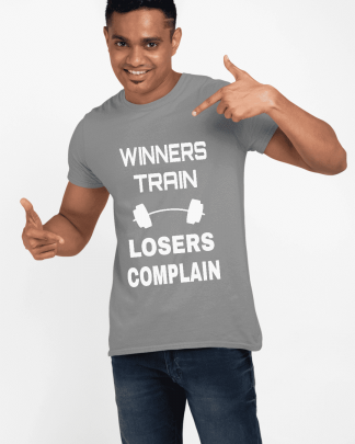 Losers complain light grey printed half t shirt