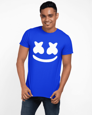 Marshmallow emoji round neck half printed t shirt royal blue