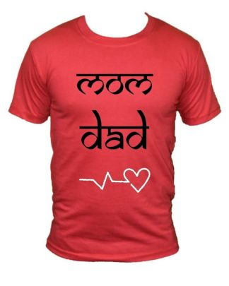 mom dad love printed t shirt round neck half red