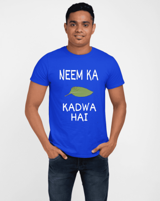 neem ka patta kadwa hai round neck half printed t shirt royal blue