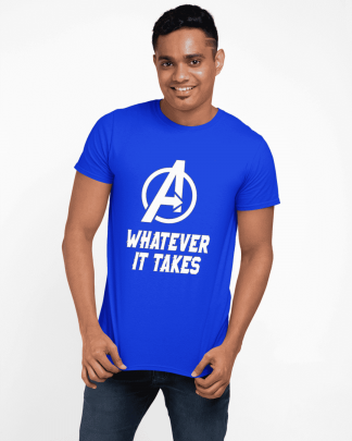 avengers whatever it takes printed t-shirt Royal Blue