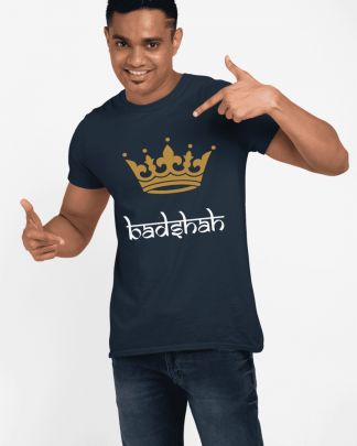 badshah round neck half printed t shirt navy blue