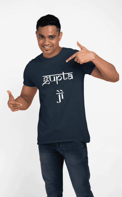 gupta ji round neck half printed t shirt navy blue
