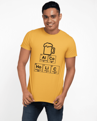 alcoholic periodic table printed t shirt round neck half melange yellow